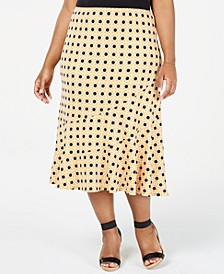 Plus Size Printed Seamed Midi Skirt