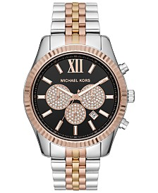Michael Kors Men's Chronograph Lexington Tri-Tone Stainless Steel Bracelet Watch 44mm