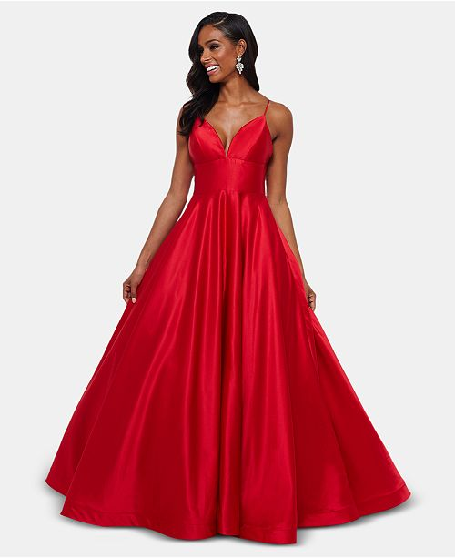 Betsy & Adam Satin Evening Gown