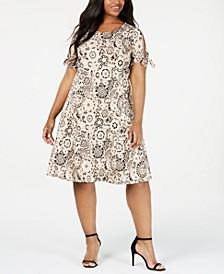 Plus Size Tie-Sleeve Dress