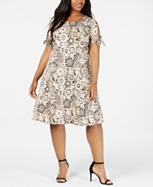 NY Collection Plus Size Tie-Sleeve Dress