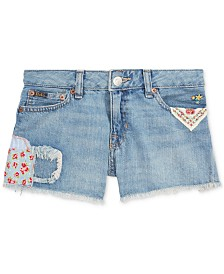 Polo Ralph Lauren Big Girls Distressed Cotton Denim Shorts
