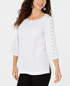 JM Collection Studded Crinkle Top, Created for Macy's