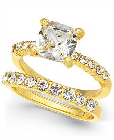 Charter Club Gold-Tone 2-Pc. Set Crystal Engagement Ring, Created for Macy's
