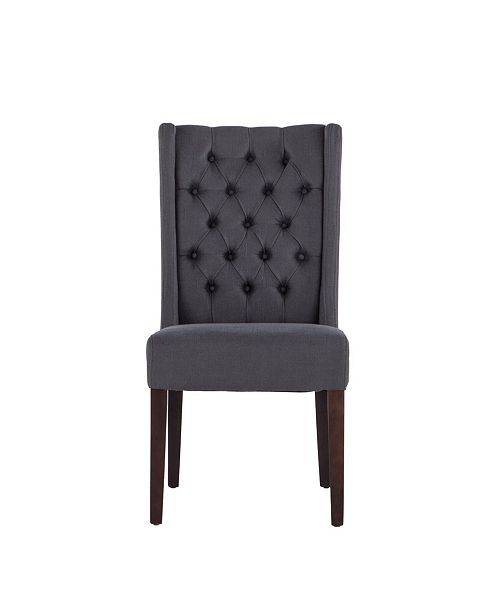 World Interiors Chloe Linen Dining Chairs with Dark Walnut Legs, Set of 2