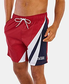 """Men's Blue Sail Colorblocked Quick Dry 8"""" Swim Trunks, Created for Macy's"""
