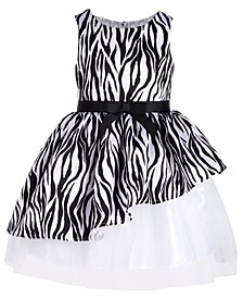 Little Girls Asymmetrical Zebra-Print Dress