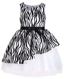 Pink & Violet Little Girls Asymmetrical Zebra-Print Dress