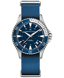 Men's Swiss Automatic Khaki Scuba Navy Blue Nato Strap Watch 40mm