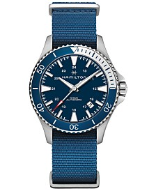 Hamilton Men's Swiss Automatic Khaki Scuba Navy Blue Nato Strap Watch 40mm
