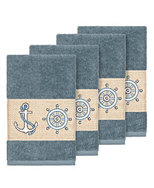 Linum Home Turkish Cotton Easton 4-Pc. Embellished Hand Towel Set
