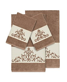Linum Home Turkish Cotton Scarlet 4-Pc. Embellished Towel Set