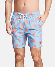 "Nautica Men's Pineapple-Print 8"" Swim Trunks"