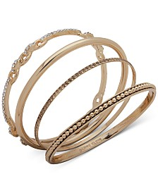 Anne Klein Gold-Tone 4-Pc. Set Pavé Textured Bangle Bracelets, Created for Macy's