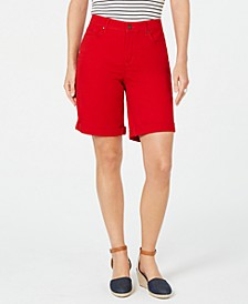 Petite Tummy-Control Cuffed Bermuda Shorts, Created for Macy's
