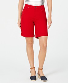 Charter Club Petite Tummy-Control Cuffed Bermuda Shorts, Created for Macy's