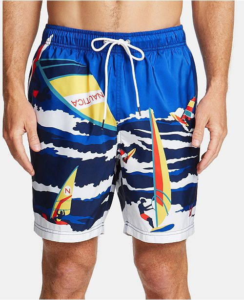 "Nautica Men's Blue Sail-Print 8"" Quick-Dry Swim Trunks"