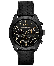 Michael Kors Men's Chronograph Keaton Black Leather Strap Watch 43mm