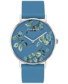 COACH Women's Perry Blue Leather Strap Watch 36mm Created for Macy's