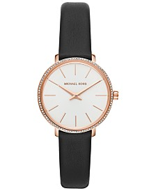 Michael Kors Women's Mini Pyper Black Leather Strap Watch 32mm