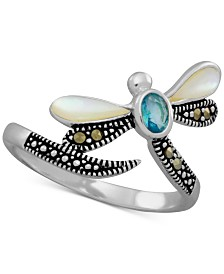 Multi-Stone Dragonfly Statement Ring in Fine Silver-Plate