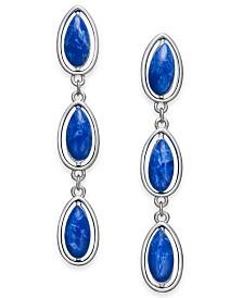 Alfani Silver-Tone Blue Stone Linear Earrings, Created for Macy's