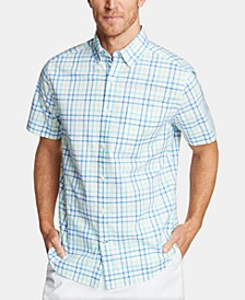 Men's Blue Sail Classic Fit Plaid Poplin Button-Down Shirt, Created for Macy's