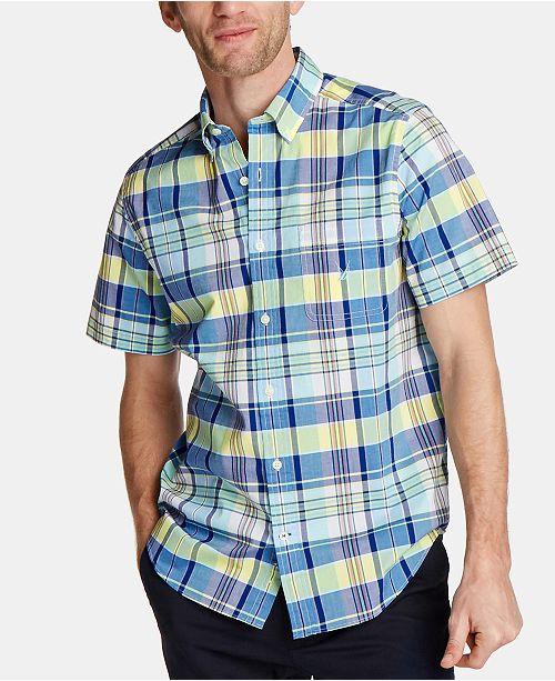 Nautica Men's Blue Sail Classic Fit Plaid Poplin Button-Down Shirt, Created for Macy's
