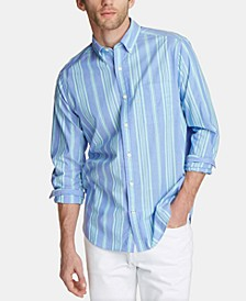 Men's Blue Sail Classic Fit Striped Poplin Button-Down Shirt, Created for Macy's