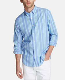 Nautica Men's Blue Sail Classic Fit Striped Poplin Button-Down Shirt, Created for Macy's