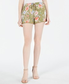Be Bop Juniors' Floral-Print Pom Pom Shorts