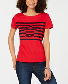 Tommy Hilfiger Cotton Striped Star Top, Created for Macy's