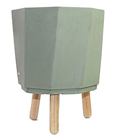 Eco Self-Watering Modern Planter Pot with Wood Leg Stand