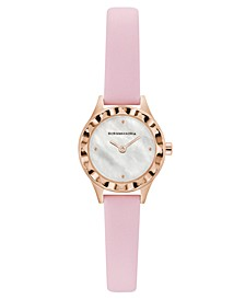 Ladies Round Pink Genuine Leather Strap Watch, 24mm