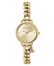 Ladies Round Goldtone Stainless Steel Chain Bracelet with Crystal Charm Watch, 26mm