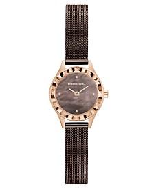 BCBGMAXAZRIA Ladies Round Brown Genuine Leather Strap Watch, 24mm
