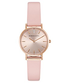Ladies Round Pink Genuine Leather Strap Watch, 30mm