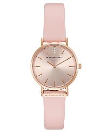 BCBGMAXAZRIA Ladies Round Pink Genuine Leather Strap Watch, 30mm