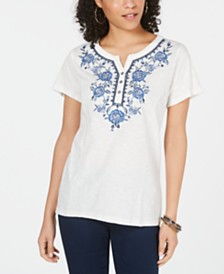 Style & Co Petite Cotton Embroidered Top, Created for Macy's
