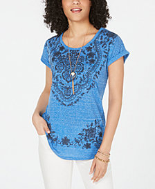 Style & Co Petite Printed Dolman-Sleeve Graphic T-Shirt, Created for Macy's
