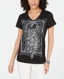 Style & Co Cotton Graphic High-Low Top, Created for Macy's