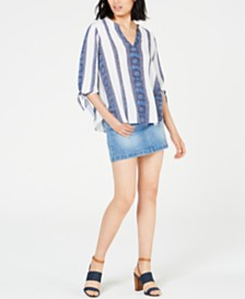 MICHAEL Michael Kors Printed Tie-Sleeve Top & Denim Skirt