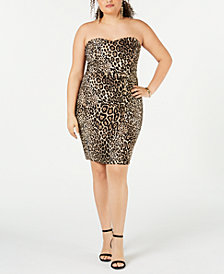 B Darlin Juniors' Plus Size Animal-Print Strapless Dress