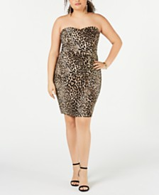 B Darlin Juniors' Plus Size Animal-Print Strapless Dress