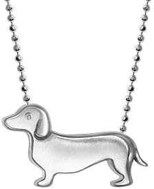 "Alex Woo Diamond Accent Dachshund 16"" Pendant Necklace in Sterling Silver"