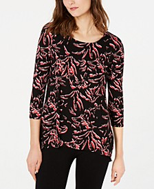 Printed Woven-Back Top, Created for Macy's