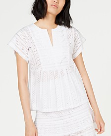 MICHAEL Michael Kors Embroidered Lace Top