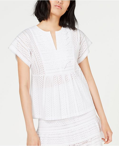 Michael Kors Embroidered Lace Top