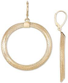 Mesh Drop Hoop Earrings in 14k Gold