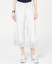 Lace-Trim Cropped Pants, Regular & Petite